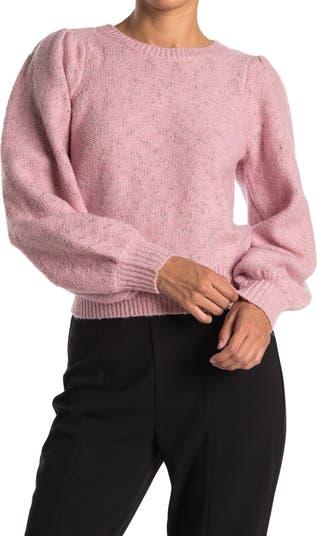 Укороченный свитер с объемными рукавами и пушистым металлом 1.STATE