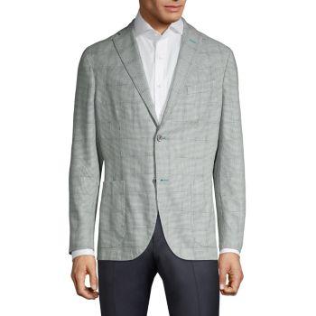 Пиджак из смесовой шерсти из морской пены с узором гусиные лапки BOGLIOLI