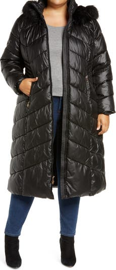 Long Quilted Parka with Faux Fur Trim Gallery