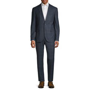 Приталенный костюм в клетку из смесовой шерсти Karl Lagerfeld