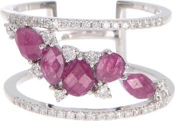 14K White Gold Diamond & Ruby Ring - Size 6.5 - 0.35 ctw Meira T