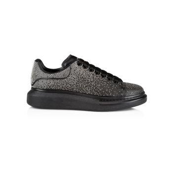 Кожаные кроссовки на платформе с украшением Alexander McQueen
