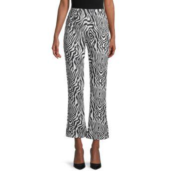 Zebra-Print Flared-Leg Pants Wdny