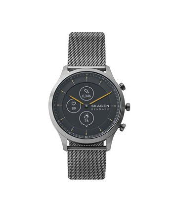Мужские и женские гибридные смарт-часы HR Jorn с серым стальным сетчатым ремешком, 42 мм Skagen