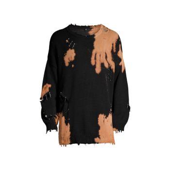 Выбеленный рваный свитер с круглым вырезом R13