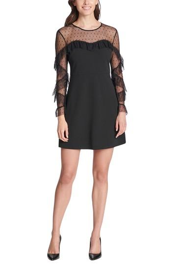 Мини-платье в сеточку с рюшами и длинными рукавами из крепа Kensie