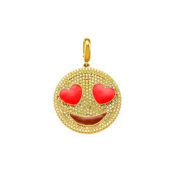 Серебро 925 пробы, позолоченное золото & amp; Кубический цирконий Heart Eyes Emoji Charm Judith Leiber