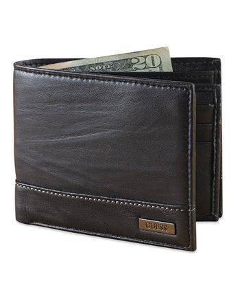 Мужской кожаный кошелек с двойным сложением GUESS