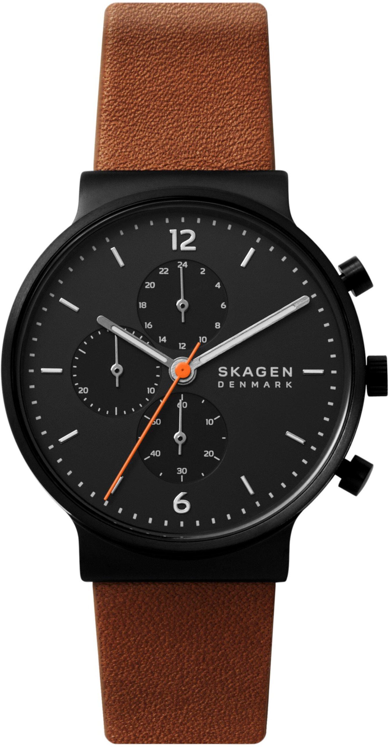 Кожаные часы Ancher с хронографом Skagen