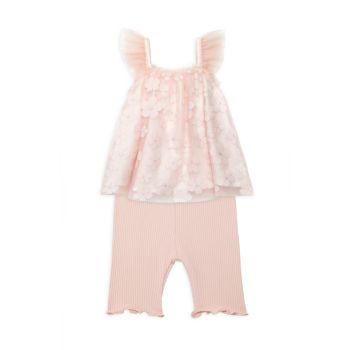 Двухкомпонентный топ с сетчатым покрытием и цветочным рисунком для девочек от Baby Girl; Комплект леггинсов капри Miniclasix