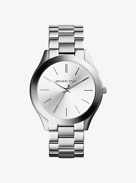 Тонкие серебристые часы Runway Michael Kors