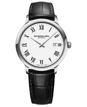 Мужские швейцарские часы Toccata с черным кожаным ремешком 39мм Raymond Weil
