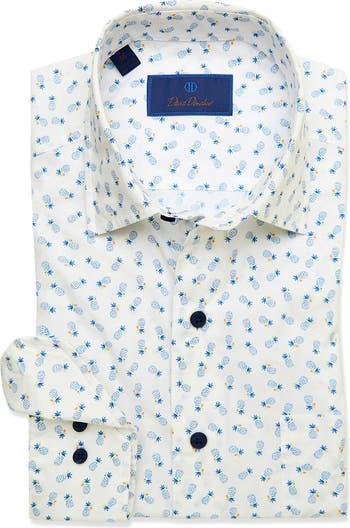 Классическая рубашка с принтом ананаса и отделкой по фигуре David Donahue