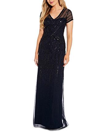 Платье с V-образным вырезом и украшением Adrianna Papell