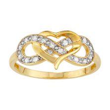 Кольцо Tiara из 10-каратного золота 1/7 карата с бриллиантом в виде сердца и бесконечности Tiara