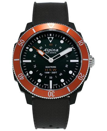 Мужские гибридные умные часы Swiss Seastrong Horological с черным каучуковым ремешком, 44 мм Alpina