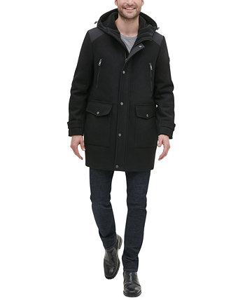 Мужское пальто с капюшоном из смешанной техники Kenneth Cole New York