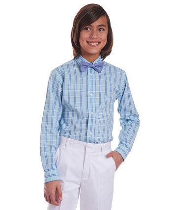 Биг Бойз 2 шт. Эластичная зеленая / синяя классическая рубашка в шотландскую клетку и синий галстук-бабочка из мешковины Tommy Hilfiger