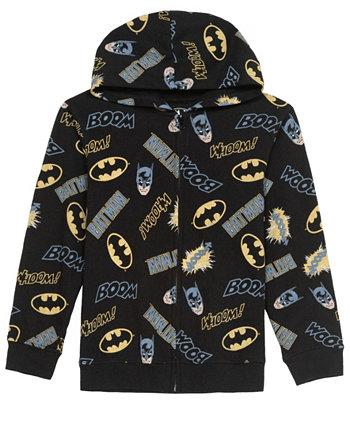 Big Boys Batman Action Toss Fleece Hoodie Hybrid