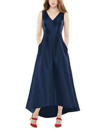 Хай-лоу атласное платье Alfred Sung