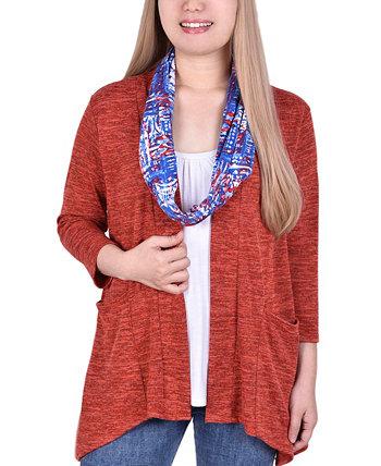 Женский кардиган со вставкой и съемным принтованным шарфом NY Collection