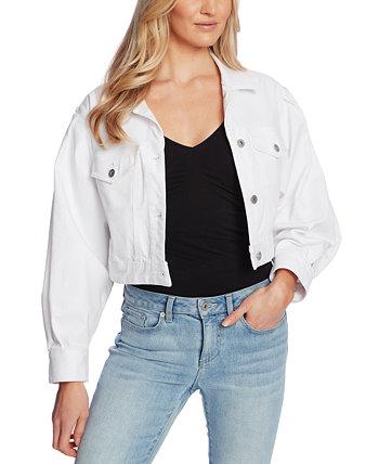 Укороченная джинсовая куртка с пышными рукавами CeCe