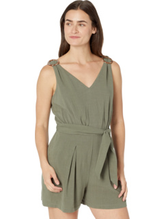 Rayon Linen V-Neck Pleated Romper London Times