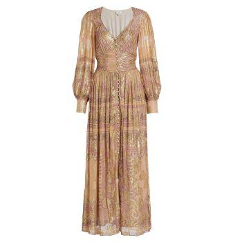 Макси-платье на пуговицах с V-образным вырезом HEMANT & NANDITA