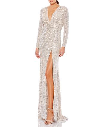 Платье с V-образным вырезом и пайетками MAC DUGGAL