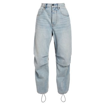 Нейлоновые джинсовые брюки из смешанной техники с высокой посадкой Alexander Wang