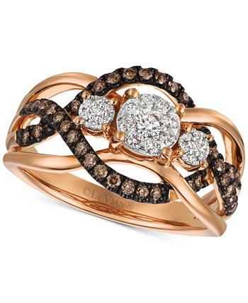 Кольцо с бриллиантом Chocolatier (3/8 карата) из розового золота 14 карат (также доступно двухцветное белое и желтое золото или белое золото) Le Vian