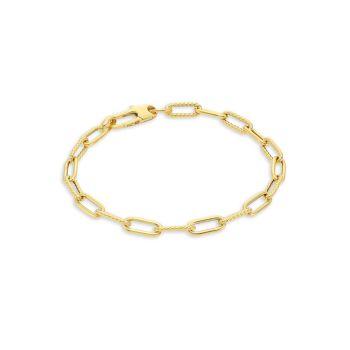 Дизайнерское желтое золото 18 карат, полированное & amp; Рифленый браслет с овальными звеньями Roberto Coin