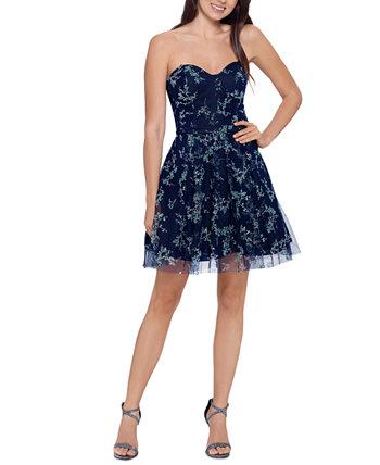Juniors' Corset Fit & Flare Dress Blondie Nites