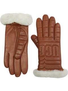 Кожаные стеганые перчатки с логотипом и проводящей технологией ладони UGG