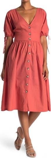 Платье на пуговицах с завязками спереди и манжетами Wishlist