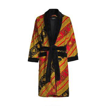 Хлопковый махровый халат в стиле барокко Versace