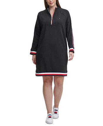 Платье больших размеров в полоску с воротником-стойкой и отделкой Tommy Hilfiger