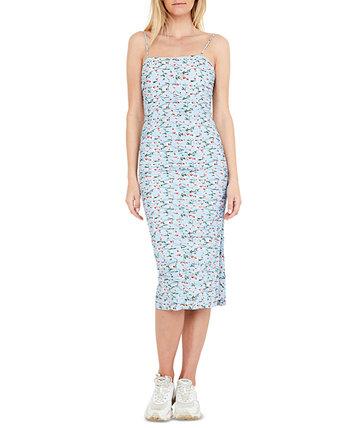 Платье миди со сборками и цветочным принтом Bardot