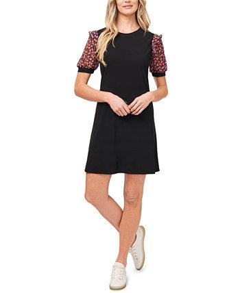 Платье с цветочным принтом и пышными рукавами CeCe
