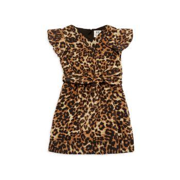 Маленькая девочка & amp; Плиссированное платье с леопардовым принтом для девочек Milly Minis
