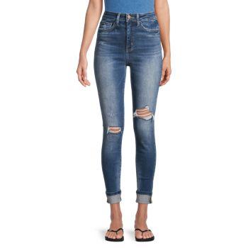 Укороченные рваные джинсы с высокой посадкой FLYING MONKEY