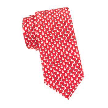 Шелковый галстук с собаками Salvatore Ferragamo