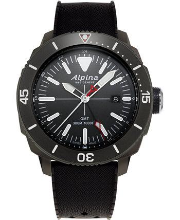 Мужские часы Swiss Seastrong Diver с черным резиновым ремешком, 44 мм Alpina