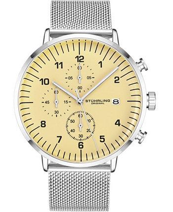 Оригинальный мужской циферблат Tan, серебряный браслет-сетка, часы Chrono Stuhrling