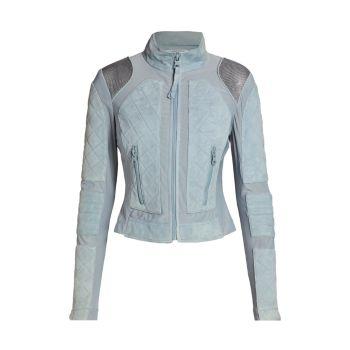 Замша & amp; Сетчатая мото куртка Blanc Noir