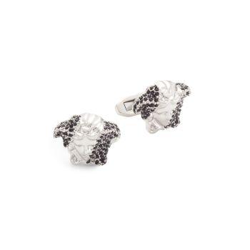 Silvertone & amp; Запонки с кристаллами Медузы Versace