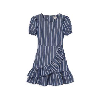 Little Girl's Striped Mock Wrap Dress Habitual