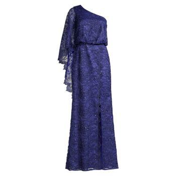 Кружевное платье на одно плечо Aidan Mattox