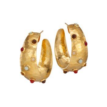 Серьги-кольца Leontia с позолотой 24 карат с несколькими камнями Gas Bijoux