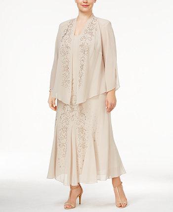 R & M Richards Платье и пиджак с V-образным вырезом и бисером R & M Richards
